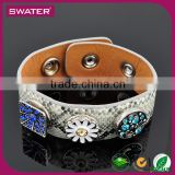 Fashionable Interchangeable Jewelry Snap Button Leather Interchangeable Bracelet
