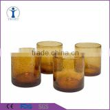 Personalized set of 4 straight bubble shaped colored glass candle jar