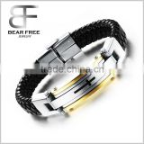 Personalized Silver Gold Black Stainless Steel Genuine Leather Bracelet Bangle Cuff Cross                                                                         Quality Choice
