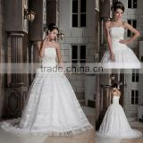 Strapless Soft Lace and Ruched Organza Ball Gown Wedding Dress xyy03-099