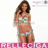 RELLECIGA Hottest Neon Color Doodle Print Bandeau Top Bikini Set with Removable Ties at Neck