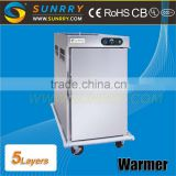 Stainless steel food warmer cart capacity 5Layer mobile food warmer carts 2.6kw electric food warmer cart for CE(SY-FWC5 SUNRRY)