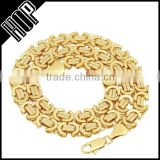 9mm Gold Plated Byzantine Chain Necklace 14k GP