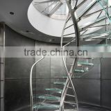 DNA Helical glass spiral Staircase with frameless glass railing                                                                         Quality Choice