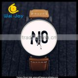 WJ-5349 simple YES NO face hot sale attractive leather strap vintage cheap wholesale couple watch