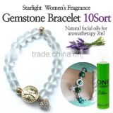 Starlight Womens Fragrance Gemstone Bracelet Tin/Platinum plating/Austria crystal/compression pads/Natural facial oils for aroma