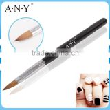 ANY Nail Art Acrylic Building Black Wood Handle Pure Kolinsky Sable Brush for Design Care