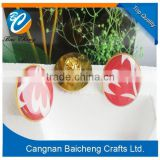 love heart red die-casting plated epoxy round metal badges with butterfly pin in gold color for man and women