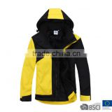 Children Fantastic Color Blocked 3 Layers Bonded Waterproof Softshell Jacket Black Yellow