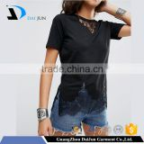 Daijun Black 100% Cotton Latest embroider design women's sexy tight wholesale t shirts