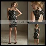2013 Latest Design Black Detachable Shoulder Straps Lace Sexy mermaid Bridesmaid Dresses bm00022