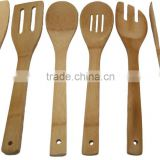 6 Piece Bamboo Kitchen Serving Utensil Set With Holder Great Cooking Tools To Help With Preparing Your Meals