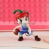 High quality custom gifts red hair boy playing basketball pvc plastic key chain