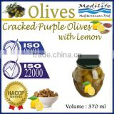 Cracked Purple Olives with Lemon, High Quality 100% Tunisian Table Olives.Cracked Olives with Lemon 370 ml Glass Jar