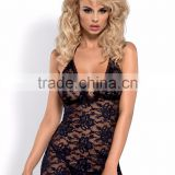 Sexy lingerie set - Catia chemise & thong - black