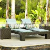 2017 Trade Assurance Poolside used customized cane rattan chaise lover lounge with tea table furniture