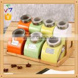 export to turkey colourful ceramic porcelain canister set,ceramic canister,storage jar,ceramic jarwith spoon & bamboo stand