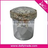Wholesale Stock Small Order Multifunction Button Glass Storage Jar With Fabric Lid