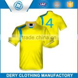 Promotion custom black yellow soccer jersey in 100% polyester material