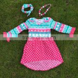 2015 new girls high low dress kids Aztec blue dress hot pink white polka dot dress with necklace and headband