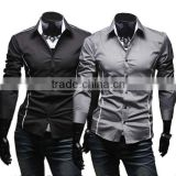 Wholesale walson Korean Men's Fashion Stylish Casual Trim Slim Fit Dress Shirts Long Sleeve Shirt 3651# apparel
