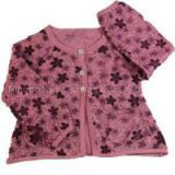 wholesale infant baby\'s plain jersey crewneck raglan sleeve cardigan floral printing sweater