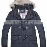 fashion mens winter fur hood cow buckle down padded lo