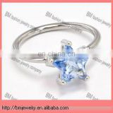 crystal colored captive bead ring with star in stainless steel body piercing jewelry in blue