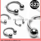 Grade 23 Solid Titanium Horse shoe 16 Gauge Nose Rings with Balls