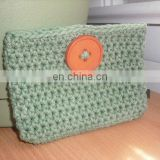 Crochet Cotton Pouch in Sage Green