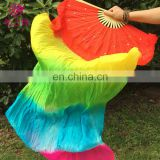 P-9080 New arrival factory customized 1.5m/1.8m imitated silk three and five colors long belly dance fan veil