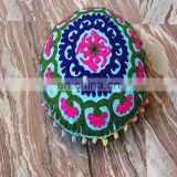 Round Cushion Cover Mandala design indian Handmade Embroidered Suzani Cushion Cover Uzbekistan Style
