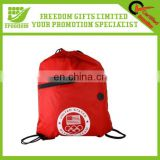 Hot Custom Logo Promotional Drawstring Backpack With Front Zipper Pocket