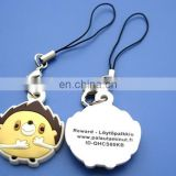 3D pvc cute animal design cellphone strap,mobile phone hanging charms