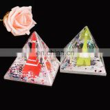 OEM custom design acrylic plastic color pyramid double orifice penholder, drip desktop furnishing articles