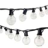 25Ft G40 Globe String Light 110/220V with 25 Clear bulbs Waterproof Indoor/Outdoor Garden,Party,Wedding Holiday Light