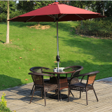 Durable Professional Black Rattan Garden Table Rattan Table Chairs