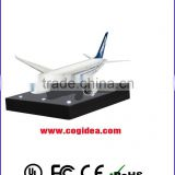 Wooden base floating rotating display float a air plane, novelty POP display for toys and gifts