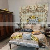 french royal style apartment furniture luxury wood carving gold leaf bedroom set furniture                                                                                                         Supplier's Choice