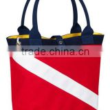 2016 8oz red and white color custom printed canvas tote bag for promotion bulk