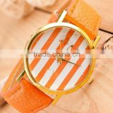 Top quality Candy color Fashion Women Classic tripes Print Leatheroid Analog Quartz Dress Wrist Watches