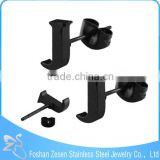 ZS20414 stainless steel alphabet stud earring black plated j shaped earrings