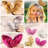 2015 New coming Girls Bunny Ear bow hair clips knotted hair bow metallic color Kids hair accessory CB-3663