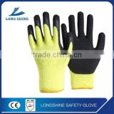 2016 Best Selling Knitted Cuff Foam Wrinkle Latex Palm Coated Safety Working Glove