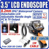 "6 LED 3.5"" LCD Monitor 1m/3m/5m Tube 8.2mm Inspection Camera Endoscope Borescope Scope"