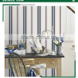 stock lot printing non woven wallpaper, vivid blue simple striped walls wall paper for backdrop , peel and stick wall sticker