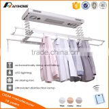 Ceiling mounted electric clothes dryer with UV lights&fans, remote control automatic clothes airing drying hanging hanger rack