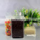 quad seal box pouch food grade flat bottom transparent plastic pouch rice packaging nylon pe zipper bag