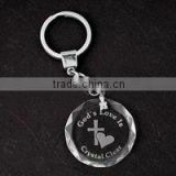 3D laser engraving crystal glass photo keychain/crystal wedding gift/LED light key chain