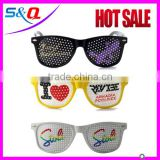 Colorful plastic frame eyeglasses party glasses with pinhole sticker on lens